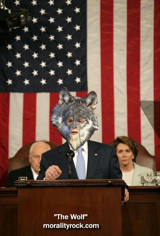 President Bush with wolf head during his State of the Union  address, Dick Cheney and Nancy Pelosi peaking over his shoulder with  concerned expressions